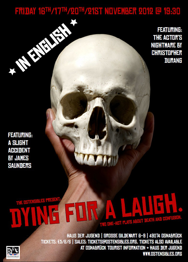 Ostensibles Theaterplakat »Dying For A Laugh«, Osnabrück's Theatre in English