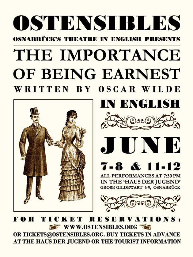 Ostensibles Theaterplakat »The Importance Of Being Earnest« (Oscar Wilde), Osnabrück's Theatre in English