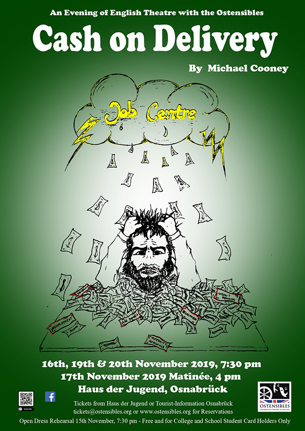 Ostensibles Theaterplakat »Cash On Delivery« (Michael Cooney), Osnabrück's Theatre in English