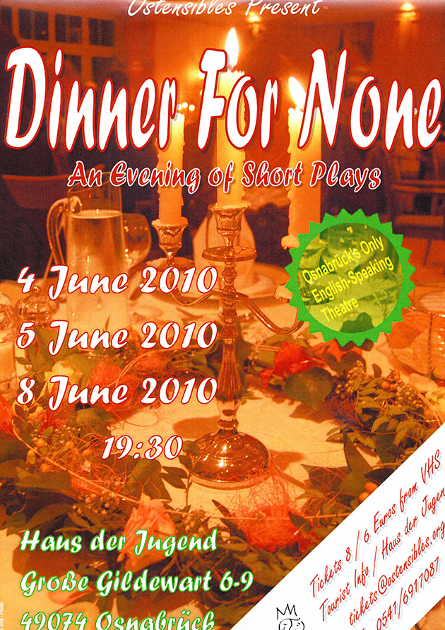 Ostensibles Theaterplakat »Dinner For None« (An Evening of Short Plays), Osnabrück's Theatre in English