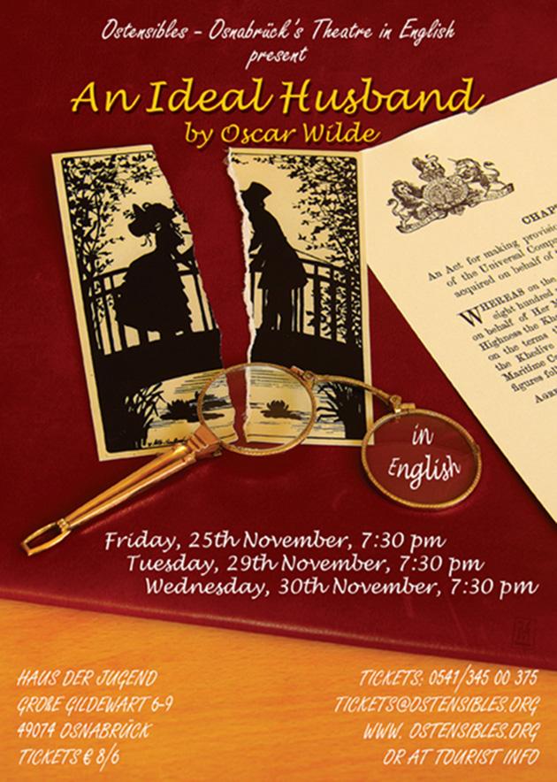 Ostensibles Theaterplakat »An Ideal Husband« (Oscar Wilde), Osnabrück's Theatre in English