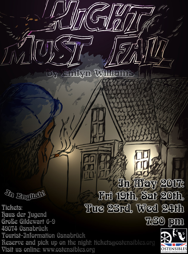 Ostensibles Theaterplakat »Night Must Fall« (Emlyn Williams), Osnabrück's Theatre in English