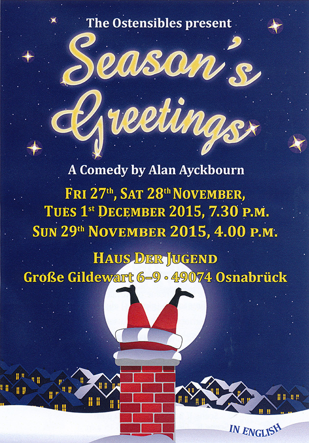 Ostensibles Theaterplakat »Season's Greetings« (Alan Ayckbourn), Osnabrück's Theatre in English