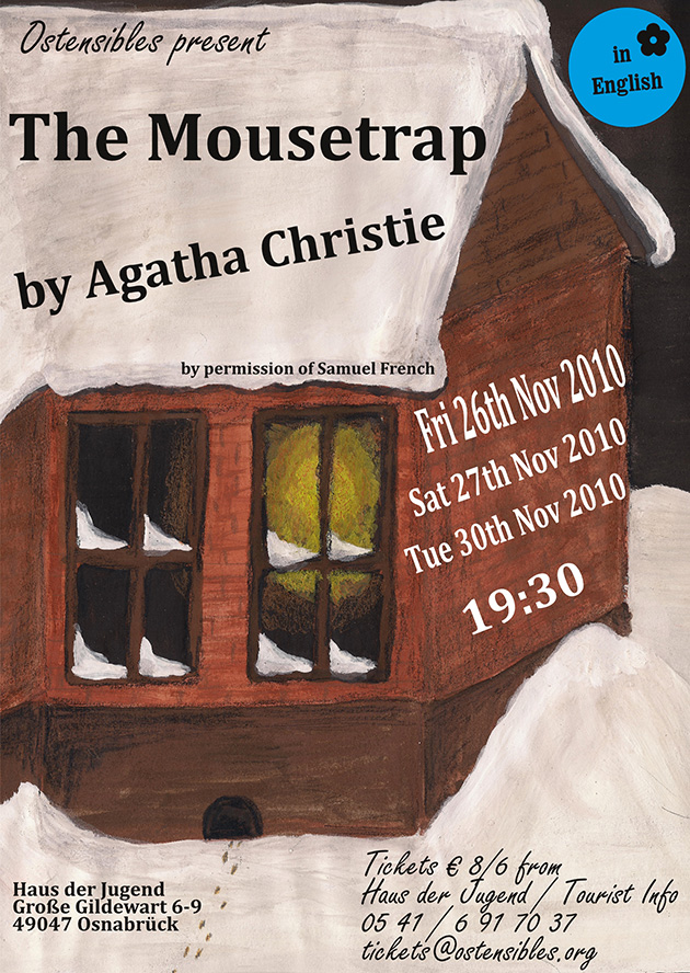 Ostensibles Theaterplakat »The Mousetrap« (Agatha Christie), Osnabrück's Theatre in English